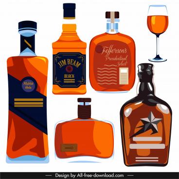 brandy wine design elements flat bottles glass sketch