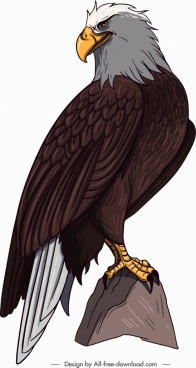 brave eagle icon perching gesture cartoon sketch