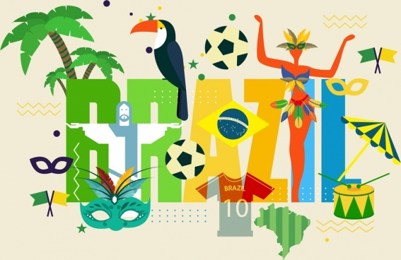brazil advertising background colorful design elements