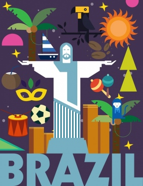 brazil advertising background colorful flat icons decor