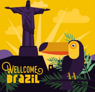brazil advertising banner statue parrot leaves icons decor