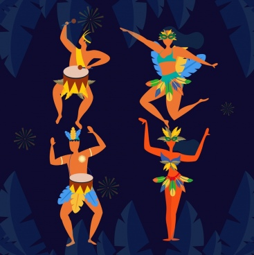 brazil background ethnic dancers icons cartoon character