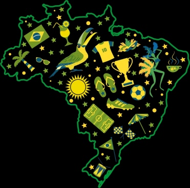 brazil background green yellow map symbols decor