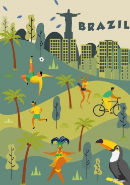 brazil background landscape people parrot icons classical design