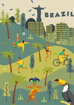 brazil background landscape people parrot icons classical design