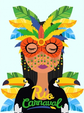 brazil carnival banner lady mask parrot icons decor