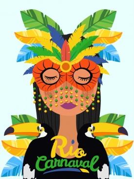 brazil carnival banner lady mask parrot icons decor