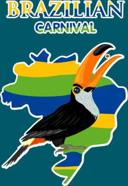 brazil carnival banner nation map parrot icons decor