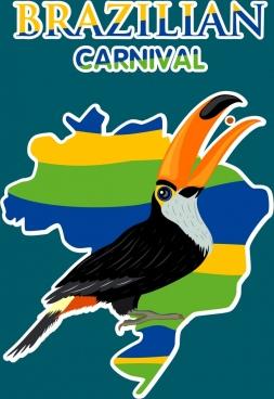 brazil carnival banner nation map parrot icons decor