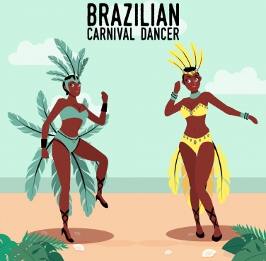 brazil carnival banner traditional dancers icons decor