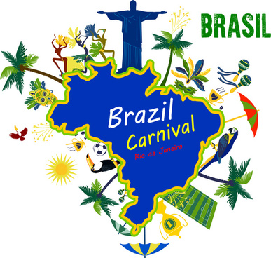 brazil carnival postcard flyer travel design