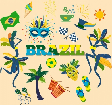 brazil design elements colorful national icons