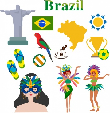 brazil design elements colorful symbols icons