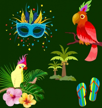 brazil design elements mask parrot coconut slippers icons
