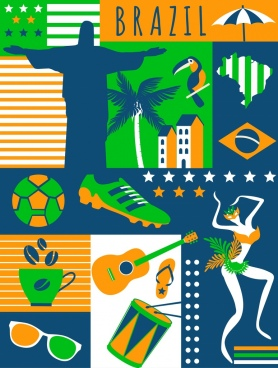 brazil design elements multicolored flat icons decor