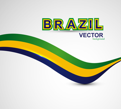 brazil flag concept creative colorful stylish wave isolated vector background