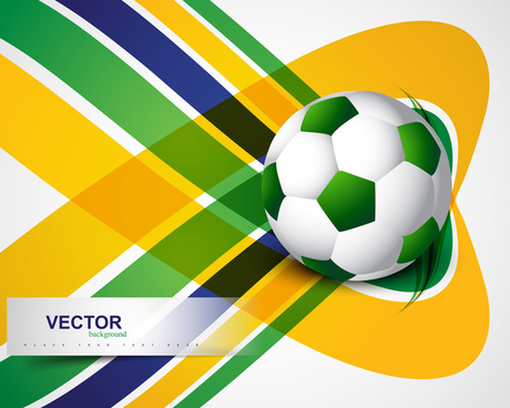 brazil flag concept stylish wave soccer background colorful vector
