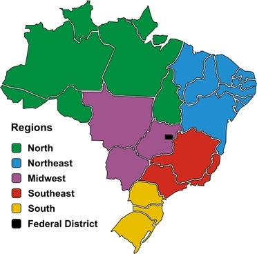 Brazil map vector free vector download 2559 free vector for brazil in regions gumiabroncs Image collections