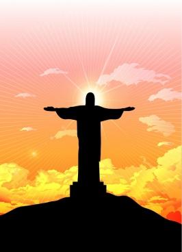 brazil landscape background christ statue icon silhouette design
