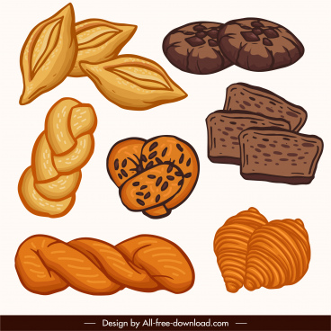 bread cake icons classical handdrawn sketch
