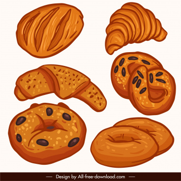 bread cake icons flat classical handdrawn sketch