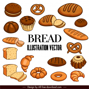 bread cakes icons brown classic handdrawn sketch