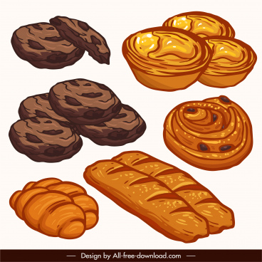 bread icons classical handdrawn sketch