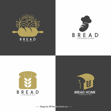 bread logo template loaf wheat sketch dark design