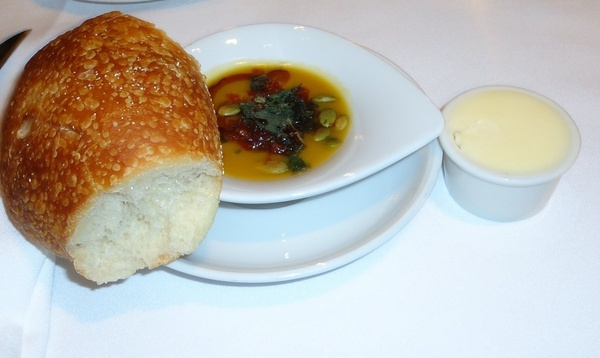 bread with pumpkin dipping sauce