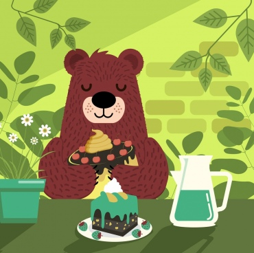 break time background bear cakes icons cartoon design