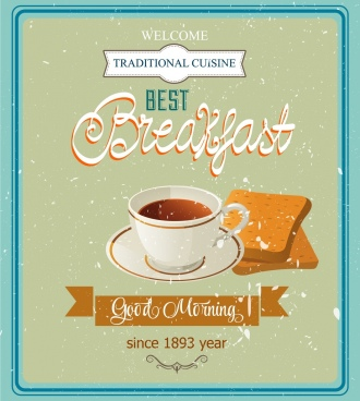 breakfast advertisement cup bread icons retro design