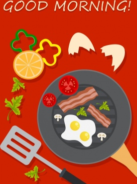 breakfast advertisement dishware egg bacon vegetable icons
