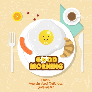 breakfast advertisement dishware stylized food icons decor