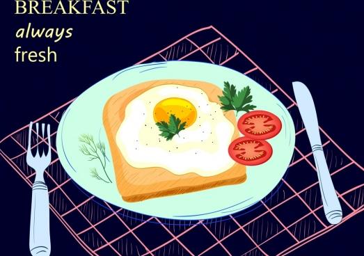breakfast advertising fried egg dishware icons decoration