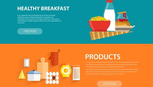 breakfast and meal preparation banners with webpage style