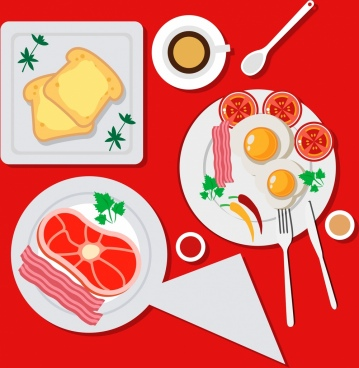 breakfast background bread fried eggs bacon icons decor