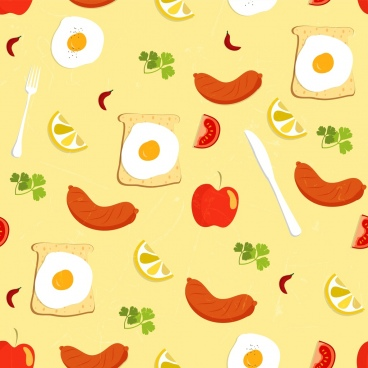 breakfast background egg sausage apple tomato lemon icons