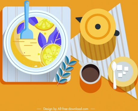 breakfast background food icons colorful classical design