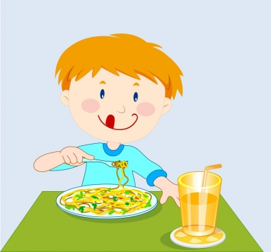 breakfast background little boy enjoying food cartoon design