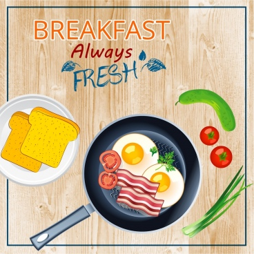 breakfast banner bread fried egg vegetables icons decor