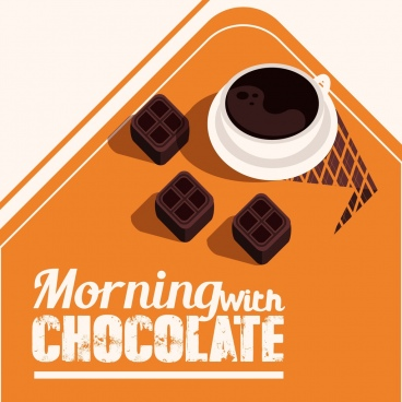 breakfast banner chocolate candies coffee cup icons decor