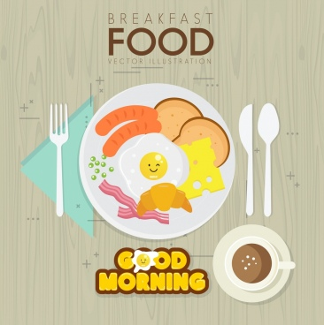 breakfast banner dishware fast food icons flat design