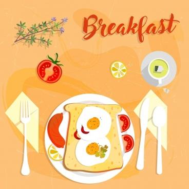 breakfast banner food icon multicolored design