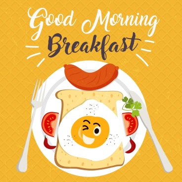 breakfast banner stylized food icon decoration