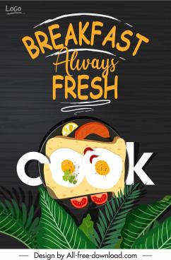 breakfast banner template dish leaves sketch elegant dark