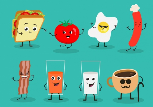 breakfast design elements cute stylized food icons