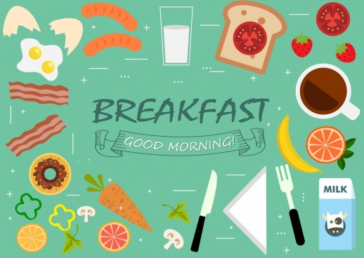 breakfast design elements food kitchenware icons flat design