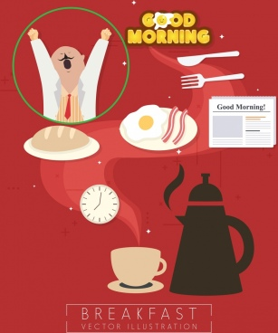 breakfast design elements various colored symbols