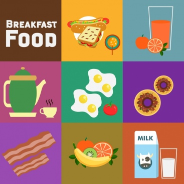 breakfast design elements various colored symbols flat design