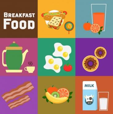 breakfast design elements various colored symbols flat design